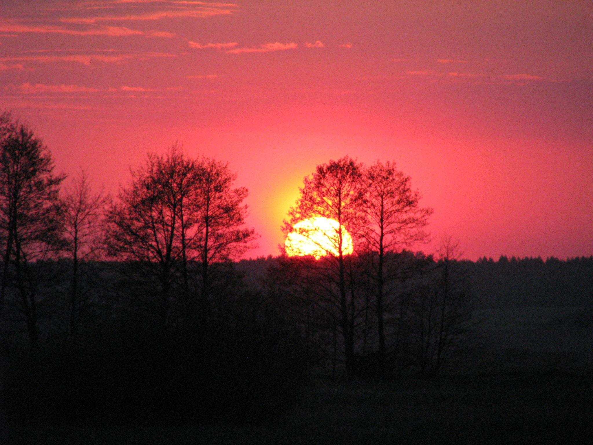 Zachód słońca nad działkami